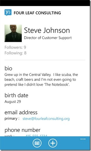 Yammer for WP7 Profile
