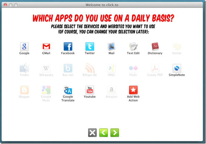 select actions apps
