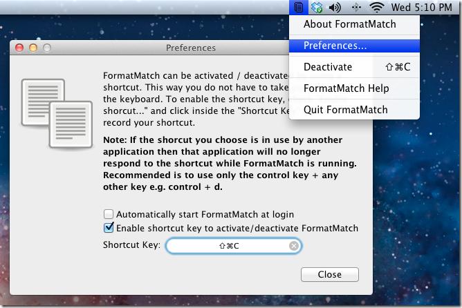 FormatMatch preferences