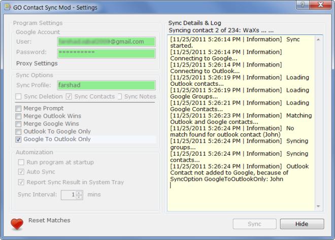 GO Contact Sync Mod - Settings