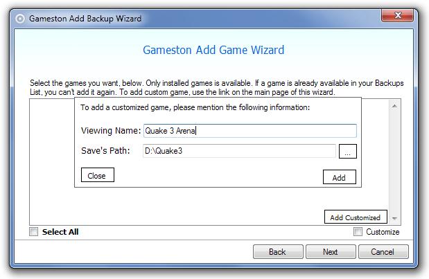 Gameston Add Backup Wizard