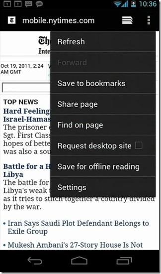 ICS Browser Menu