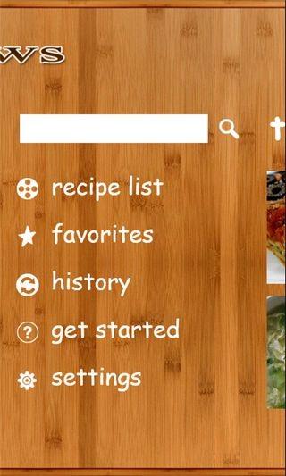 Recipe Shows Menu