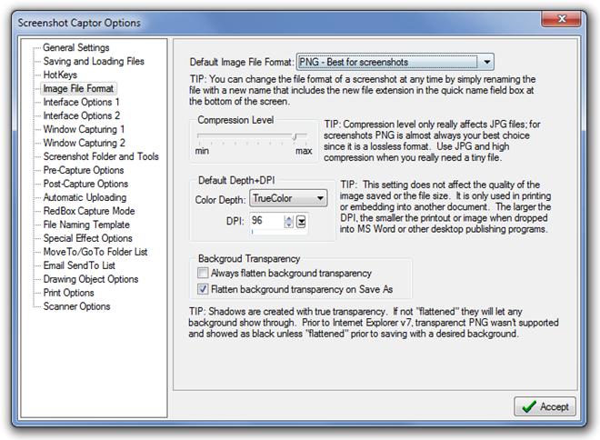 Screenshot Captor Options Image