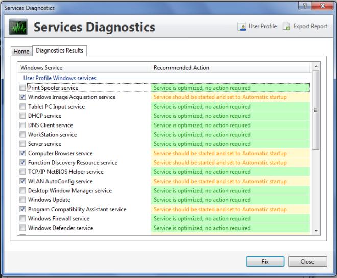Services Diagnostics