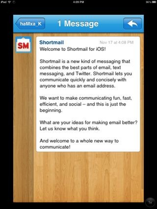 Shortmail for iOS Message