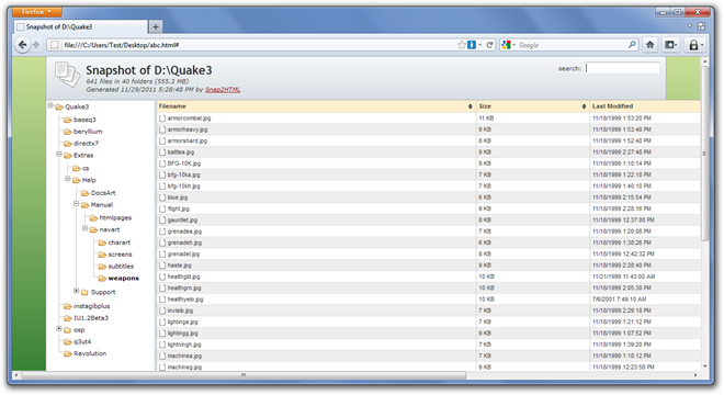 Snapshot of DQuake3 - Mozilla Firefox