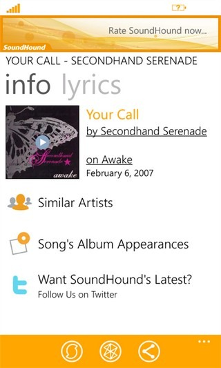 SoundHound Detected Song