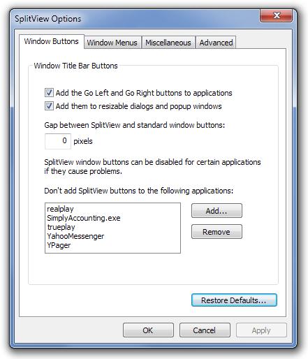 SplitView Options Windows Buttons