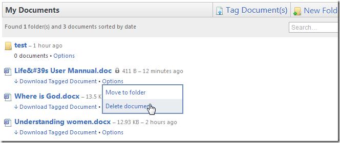 TagMyDoc delete doc