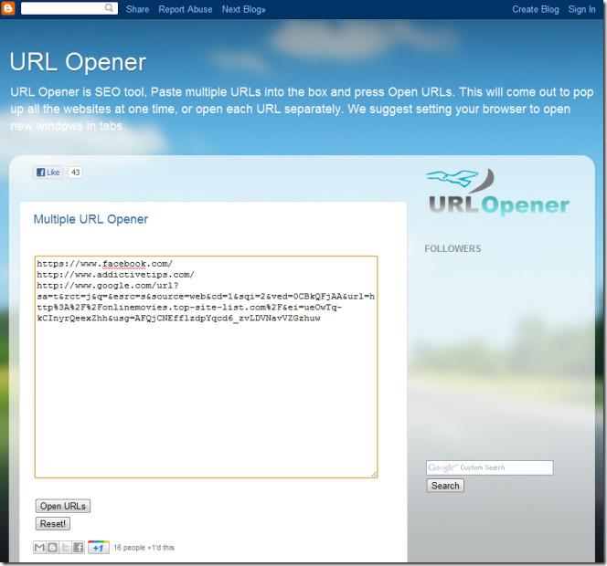 URL Opener - Google Chrome