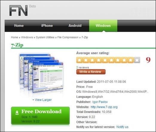 7-Zip free download for Windows8,Win732,Wind764,Win2000,WinXP..