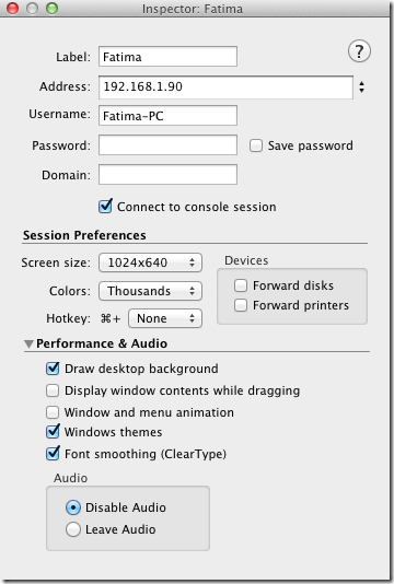 CoRD Connection settings