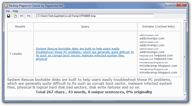 Desktop Plagiarism Checker by Plagiarisma.Net