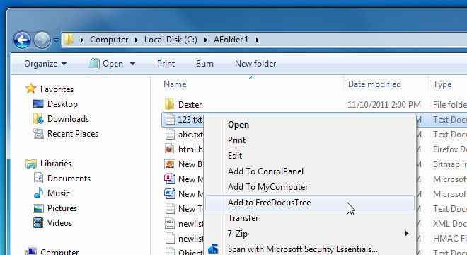 FreeDocusTree Context Menu Integration