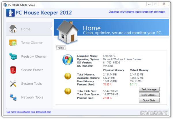 PC House Keeper 2012 Home