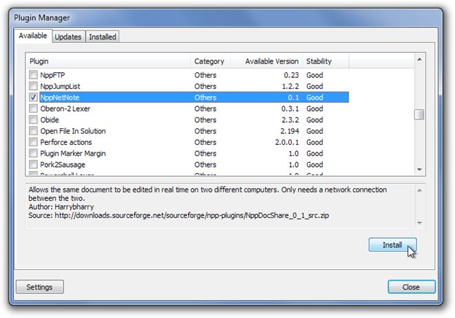 Plugin Manager npp docshare