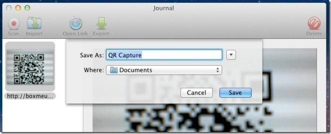 QR Journal export