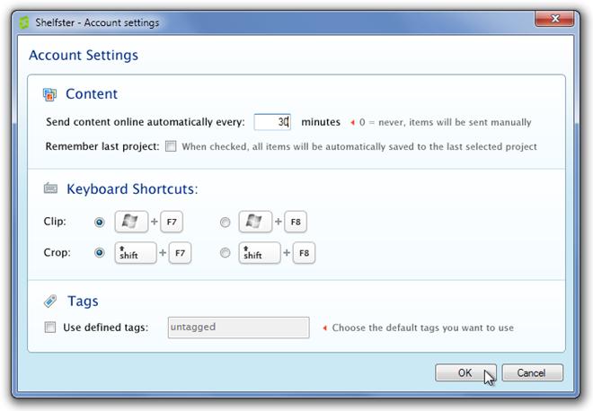 Shelfster - Account settings