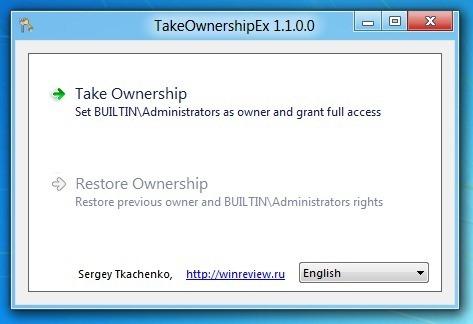 Take Ownership of files in Windows 8