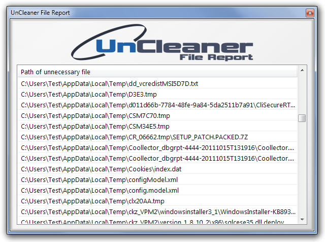 UnCleaner File Report