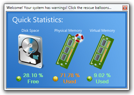 Welcome! Your system has warnings! Click the rescue balloons...