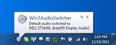 Win7AudioSwitcher Notification