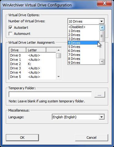 WinArchiver Virtual Drive Configuration
