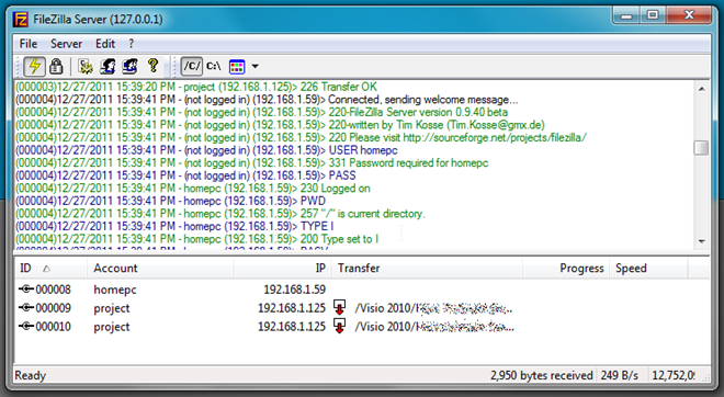 filezilla ftp server
