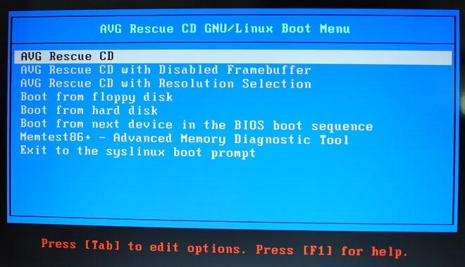 AVG-Rescue-CD-Boot-Menu