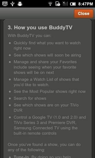 BuddyTV-Android-Help