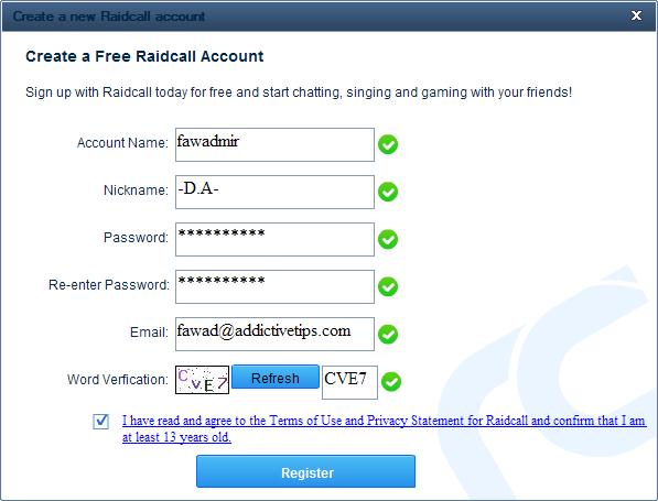 Create a new Raidcall account