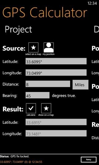 GPS Calculator Projection