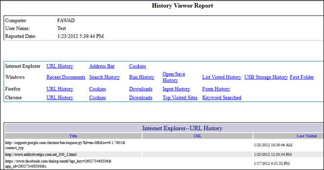 History Viewer Report - Report