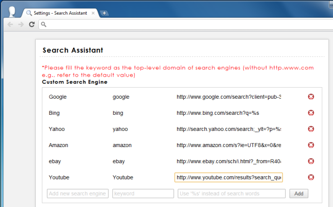 Serach Assistant Options