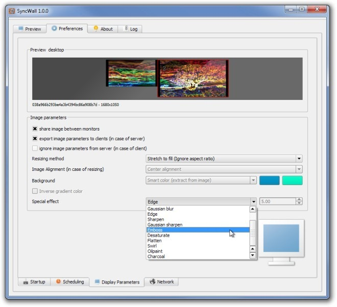 SyncWall 1.0.0 Display Parameters