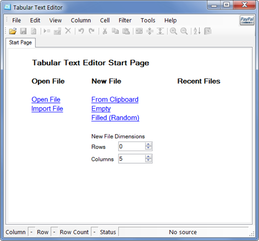 Tabular Text Editor