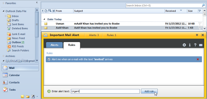 Important Mail Alert: Create Text-Based Email Alert Rule In Outlook 2010