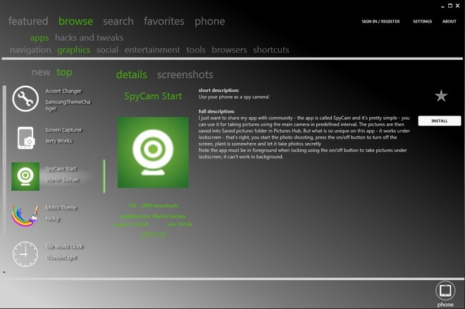 Bazaar For PC WP7 Homebrew