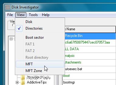Disk Investigator view menu