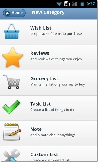 Lists-Notes-Android-Categories