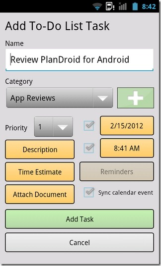 PlanDroid-Android-Task