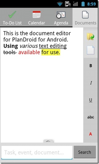 PlanDroid-Android-Text-Editor