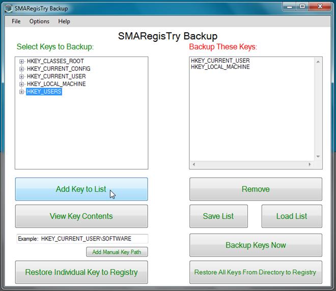SMARegisTry Backup