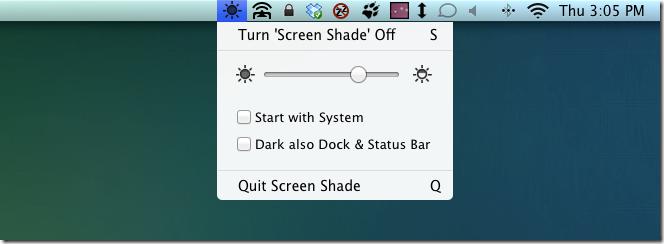 Screen Shade options