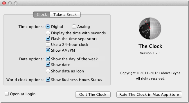 The Clock preferences