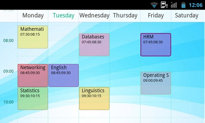 TimeTable-Android-Lanscape