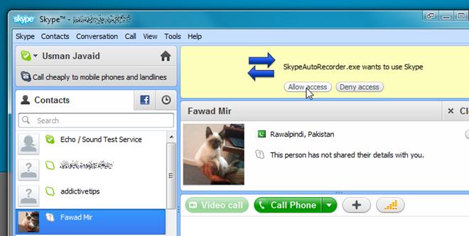 allow access skype recorder 1