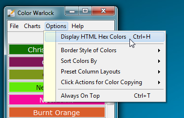display html color code