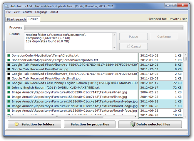 Anti-Twin   v 1.8d    Find and delete duplicate files    (C) Jörg Rosenthal, 2003 - 2011.png Result